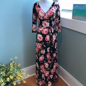 Awesome maxi. Black and pink floral. Pretty!
